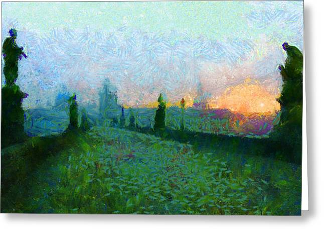 Charles Bridge at Dawn Greeting Card by Peter Kupcik