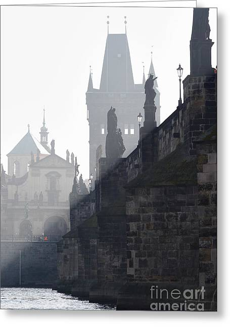 Old Relics Greeting Cards - Charles bridge in the early morning fog Greeting Card by Michal Boubin