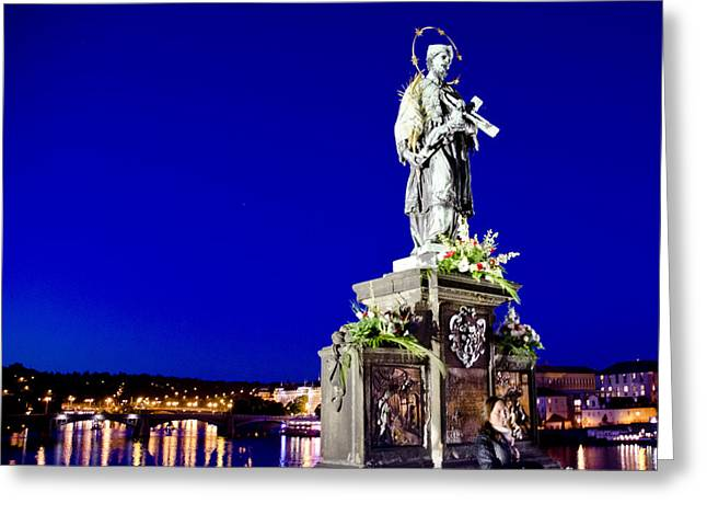 Martyr Greeting Cards - Charles Bridge Statue of St John of Nepomuk     Greeting Card by Jon Berghoff