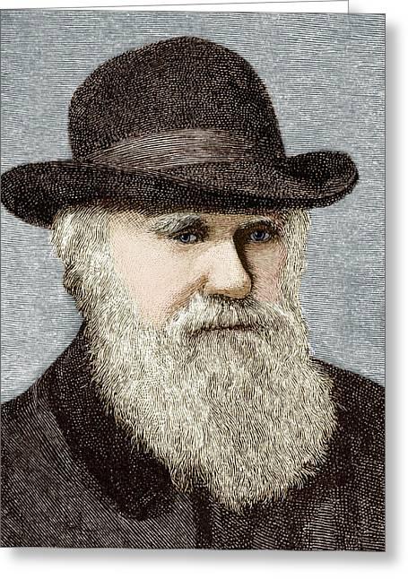 British Portraits Photographs Greeting Cards - Charles Darwin, British Naturalist Greeting Card by Sheila Terry