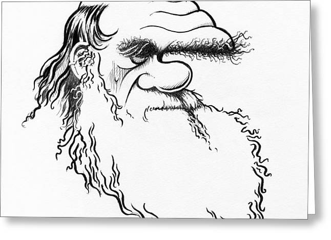 Evolutionary Thought Greeting Cards - Charles Darwin, Caricature Greeting Card by Gary Brown
