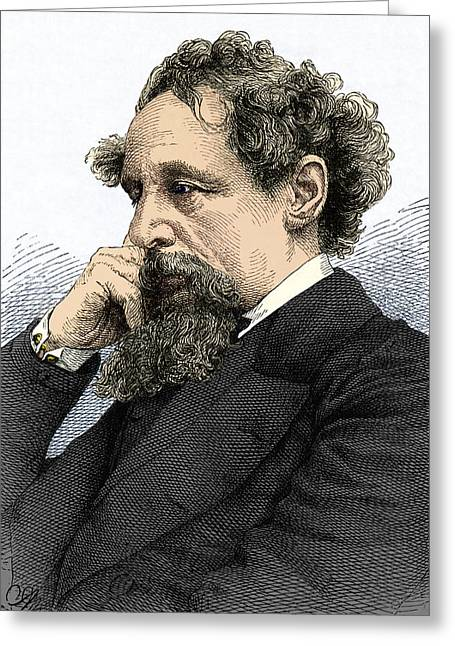 Recently Sold -  - British Portraits Greeting Cards - Charles Dickens, English Author Greeting Card by Sheila Terry