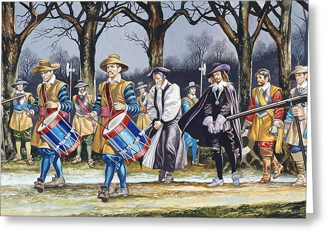 March Paintings Greeting Cards - Charles Is Last Walk  Greeting Card by Ron Embleton