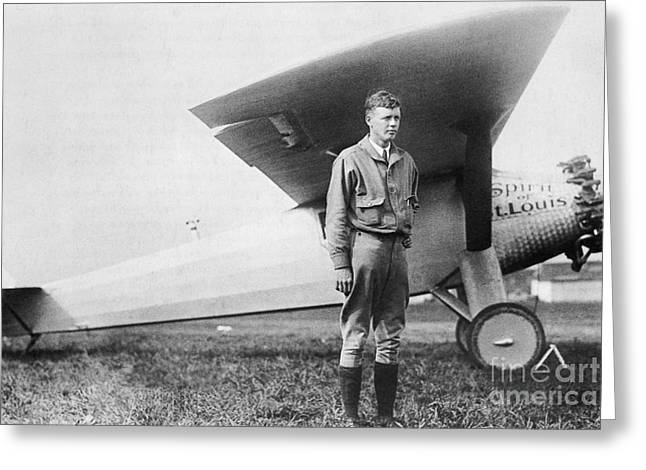 Famous Aviators Greeting Cards - Charles Lindbergh American Aviator Greeting Card by Photo Researchers