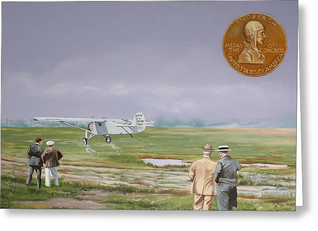 Monoplanes Greeting Cards - Charles Lindbergh Greeting Card by Kenneth Young