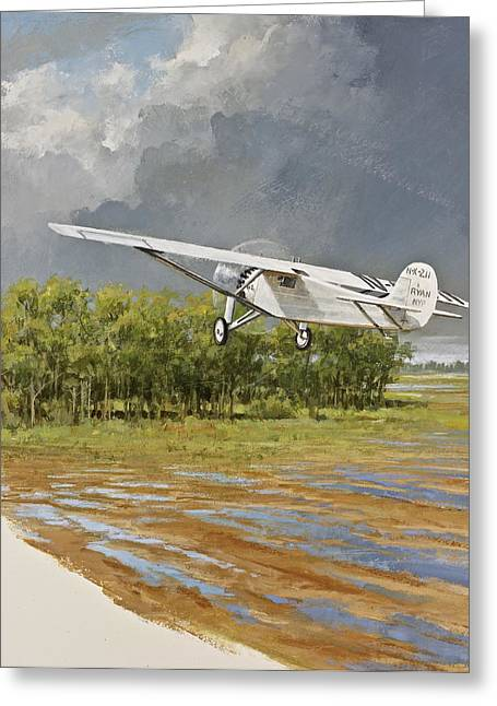 Charles Lindbergh Taking Off Greeting Card by Cliff Spohn