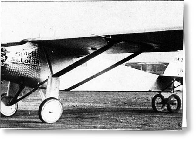 Trans-atlantic Greeting Cards - Charles Lindberghs Airplane Greeting Card by Photo Researchers