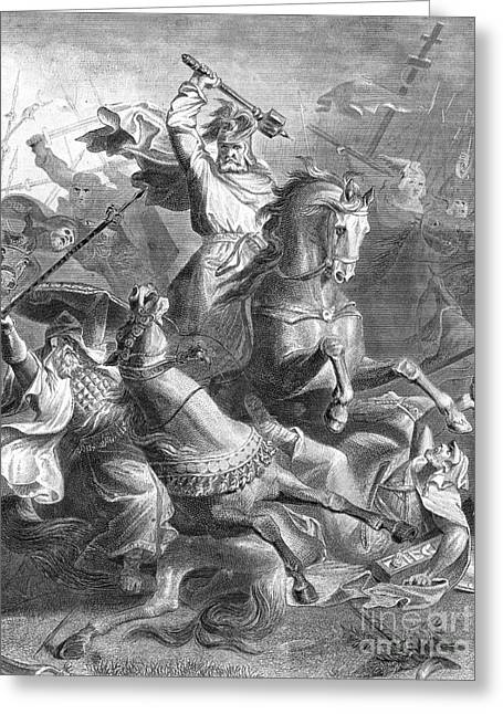 7th Army Greeting Cards - Charles Martel, Battle Of Tours, 732 Greeting Card by Photo Researchers
