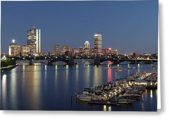 Boston Skyline Photo Greeting Cards - Charles River Yacht Club Greeting Card by Juergen Roth