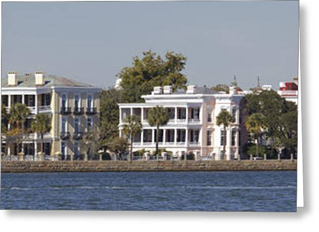 Steeples Greeting Cards - Charleston Battery Row Panoramic Greeting Card by Dustin K Ryan
