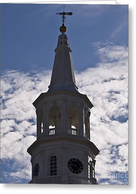Wind Vane Greeting Cards - Charleston Clock Greeting Card by Al Powell Photography USA