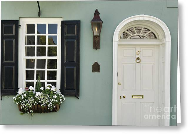 Gas Lamp Photographs Greeting Cards - Charleston Doorway - D006767 Greeting Card by Daniel Dempster