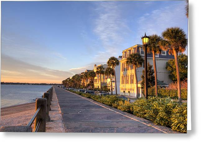 Charleston Greeting Cards - Charleston East Battery Row Sunrise Greeting Card by Dustin K Ryan