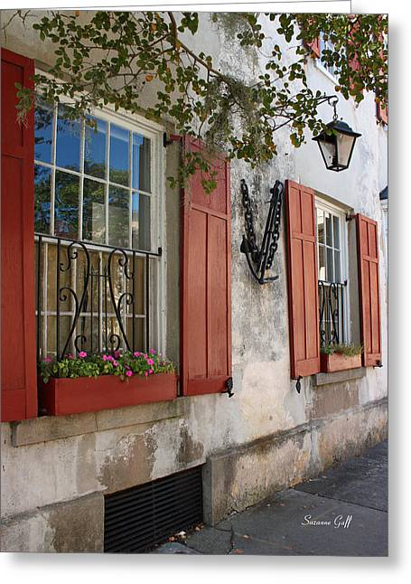 Flower Works Greeting Cards - Charleston French Quarter Greeting Card by Suzanne Gaff