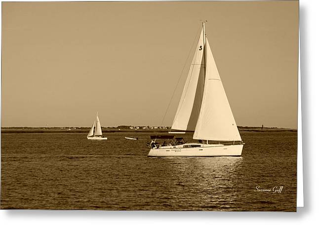 Sepia Digital Art Greeting Cards - Charleston Harbor in sepia Greeting Card by Suzanne Gaff