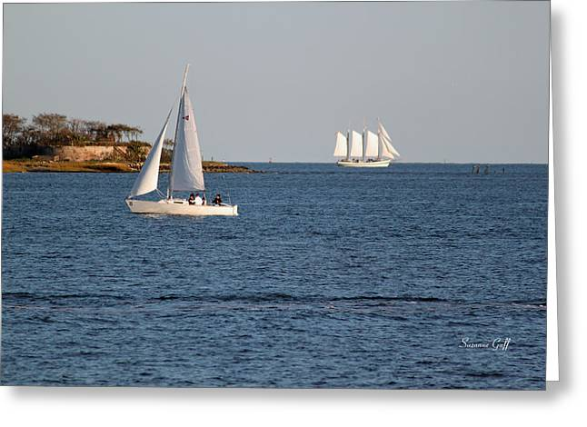 Sailboat Art Greeting Cards - Charleston Harbor Scenic Greeting Card by Suzanne Gaff