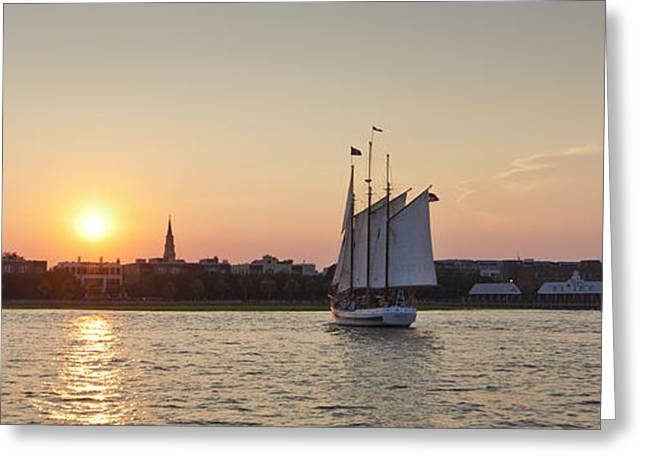Schooner Greeting Cards - Charleston Harbor Sunset Schooner Greeting Card by Dustin K Ryan