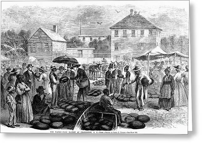 Watermelon Greeting Cards - Charleston: Market, 1866 Greeting Card by Granger