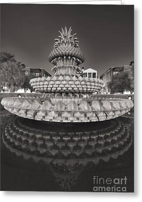 Fountain Digital Art Greeting Cards - Charleston pineapple fountain fine art black and white Greeting Card by Dustin K Ryan
