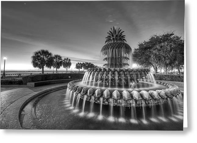 Fountain Digital Art Greeting Cards - Charleston Pineapple Fountain Fine Art Image Greeting Card by Dustin K Ryan