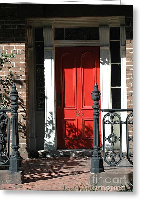 Photographs With Red. Greeting Cards - Charleston Red Door - Red White Black Door With Iron Gate Posts Greeting Card by Kathy Fornal
