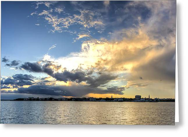 Stormy Clouds Greeting Cards - Charleston SC Stormy Clouds Sunset Greeting Card by Dustin K Ryan