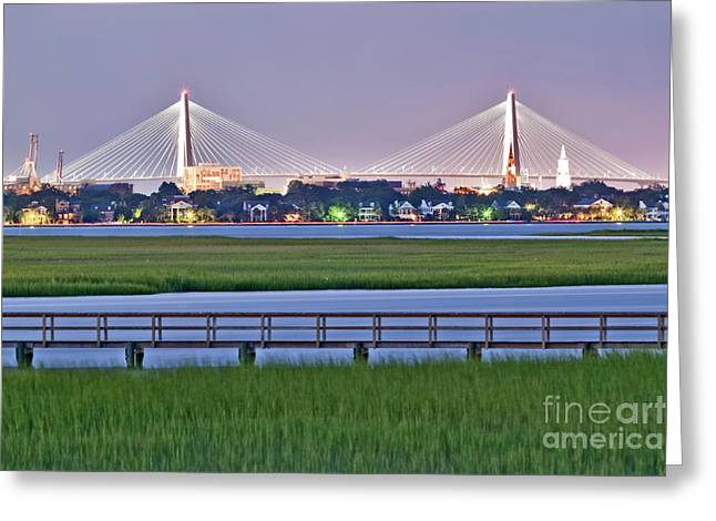 Sc Greeting Cards - Charleston South Carolina Skyline Greeting Card by Dustin K Ryan