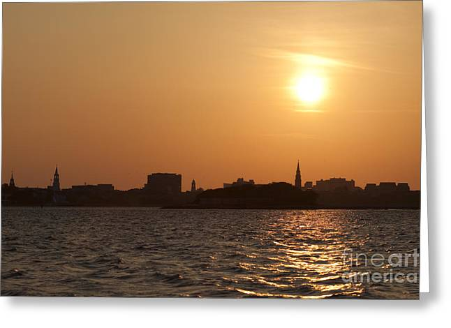 Steeples Greeting Cards - Charleston South Carolina Skyline Sunset Greeting Card by Dustin K Ryan