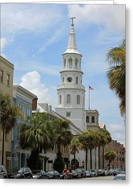 Palmetto Trees Greeting Cards - Charleston Street Scene Greeting Card by Suzanne Gaff