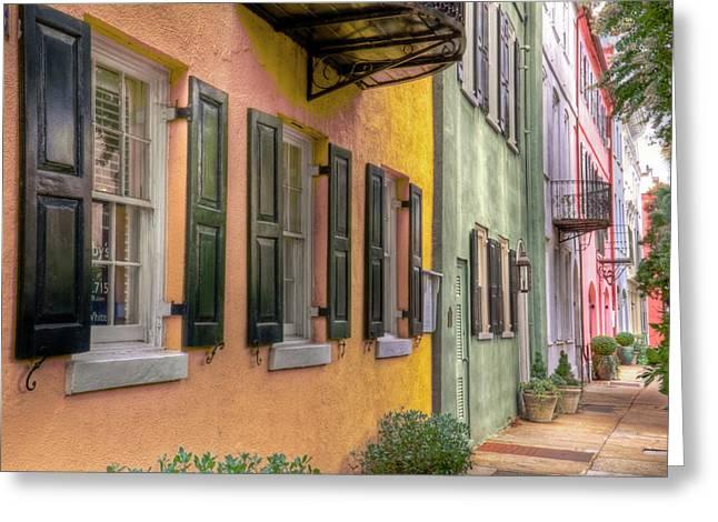 Charleston Sidewalk Greeting Cards - Charlestons Rainbow Row Greeting Card by Drew Castelhano