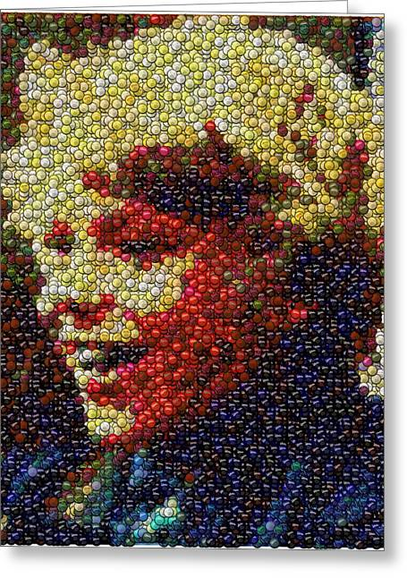 Bottlecaps Mixed Media Greeting Cards - Charlie Buckets Fizzy Lifting Drinks  Bottle Cap Mosaic Greeting Card by Paul Van Scott