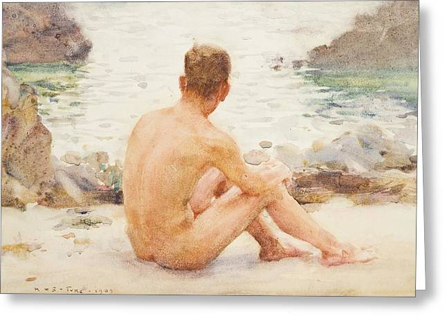 Charlie Greeting Cards - Charlie Seated on the Sand Greeting Card by Henry Scott Tuke