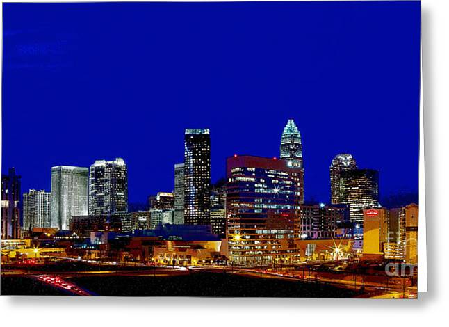 Charlotte Nc Photography Greeting Cards - Charlotte NC Skyline at dusk Greeting Card by Patrick Schneider