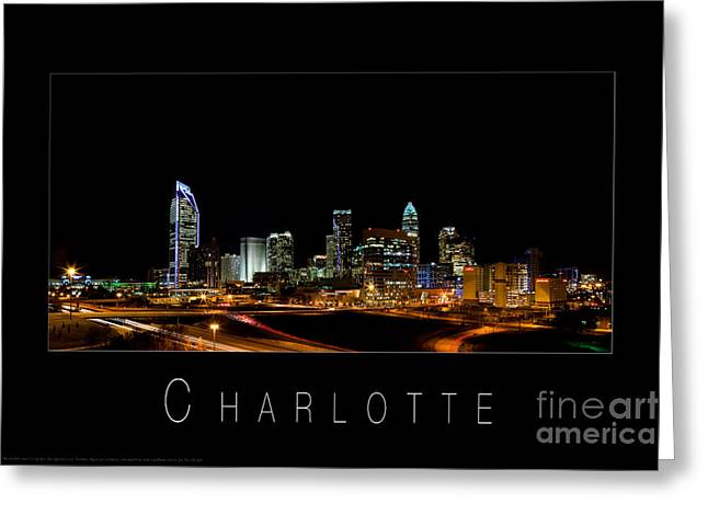 Downtown Charlotte Nc Greeting Cards - Charlotte skyline at night Greeting Card by Patrick Schneider