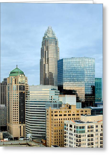 Digital Photo Charlotte Nc Greeting Cards - Charlotte skyline in daylight Greeting Card by Patrick Schneider