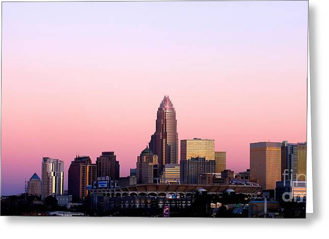 Downtown Charlotte Nc Greeting Cards - Charlotte Skyline vibrant pink Greeting Card by Patrick Schneider