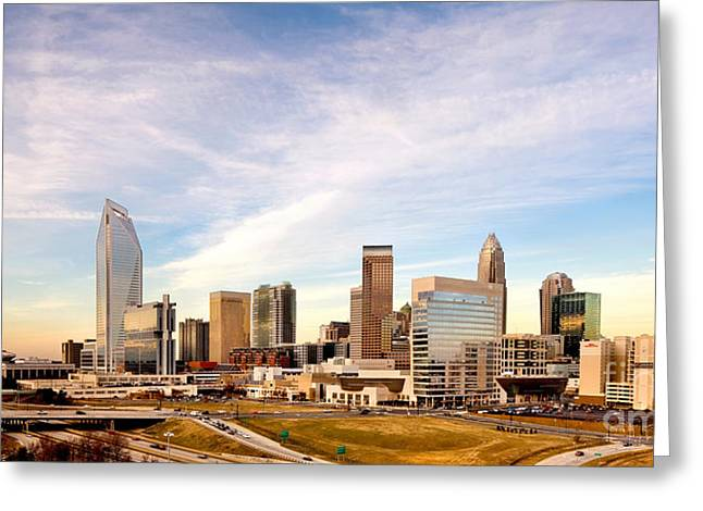 Downtown Charlotte Nc Greeting Cards - Charlotte Skyline wispy clouds Greeting Card by Patrick Schneider