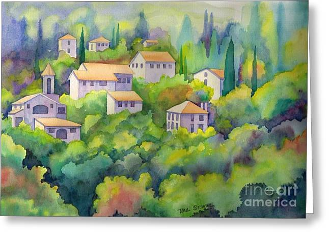 Provence Village Greeting Cards - Charming Provence Greeting Card by Val Stokes