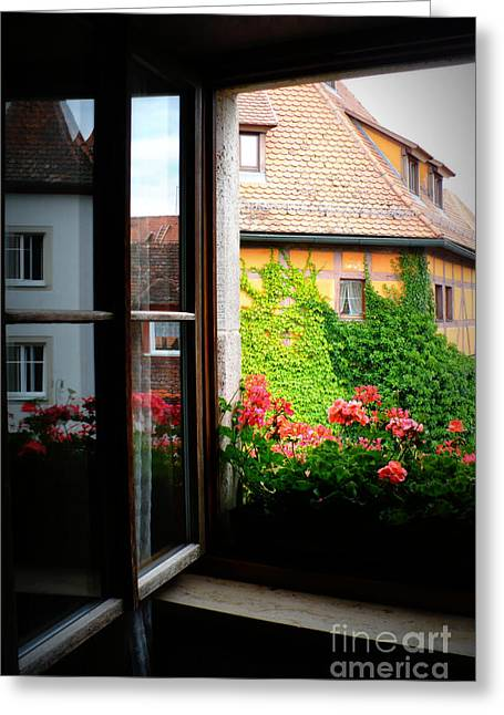 Looking Out The Window Greeting Cards - Charming Rothenburg Window Greeting Card by Carol Groenen