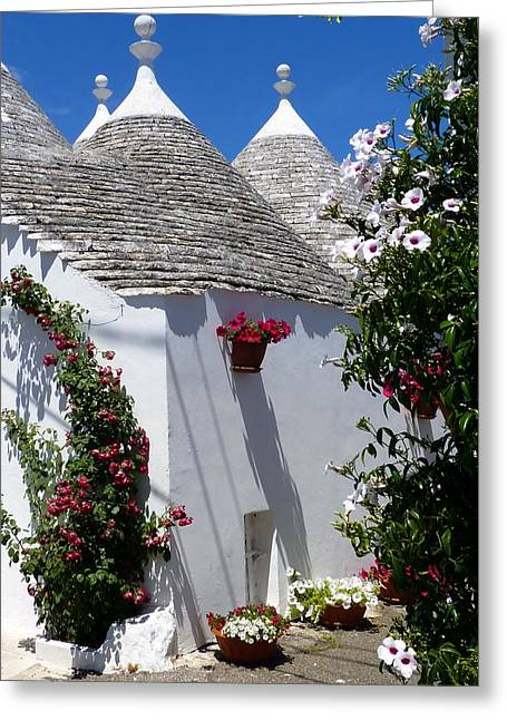 Carla Parris Greeting Cards - Charming Trulli Greeting Card by Carla Parris