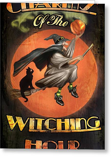 Witch Cat Greeting Cards - Charms of the Witching Hour Greeting Card by Joel Payne