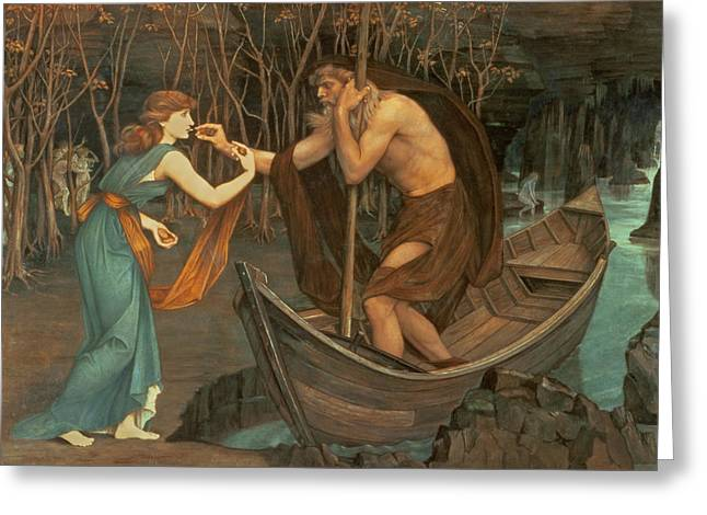 Spencer Greeting Cards - Charon and Psyche Greeting Card by John Roddam Spencer Stanhope