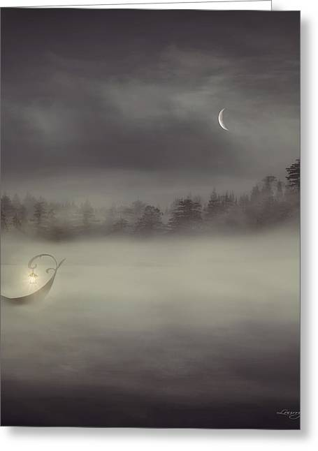 Night Angel Greeting Cards - Charons Boat Greeting Card by Lourry Legarde
