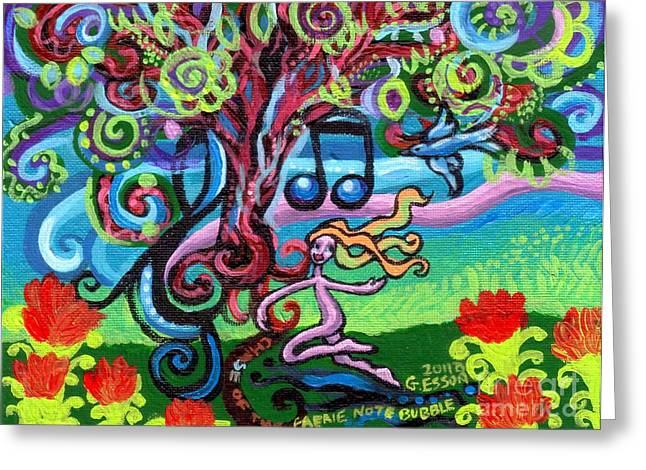 Print On Acrylic Greeting Cards - Chase Of The Faerie Note Bubble Greeting Card by Genevieve Esson
