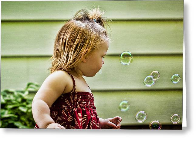 Floating Girl Greeting Cards - Chasing Bubbles Greeting Card by Matt Dobson