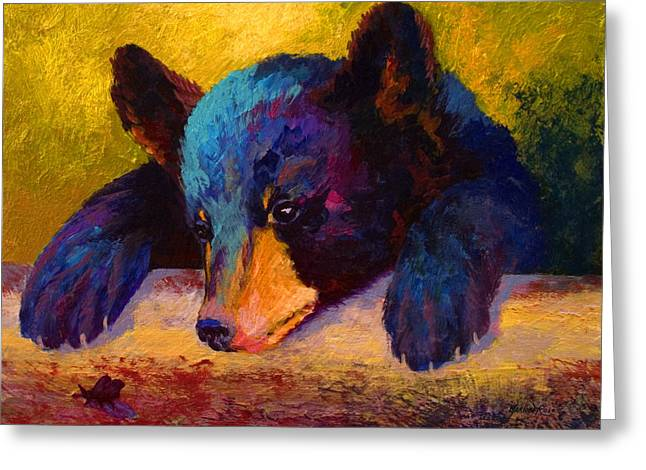 Spirit Paintings Greeting Cards - Chasing Bugs - Black Bear Cub Greeting Card by Marion Rose