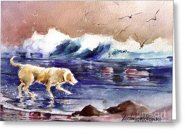 Golden Lab Greeting Cards - Chasing the Sea Gulls Away Greeting Card by Michael David Sorensen