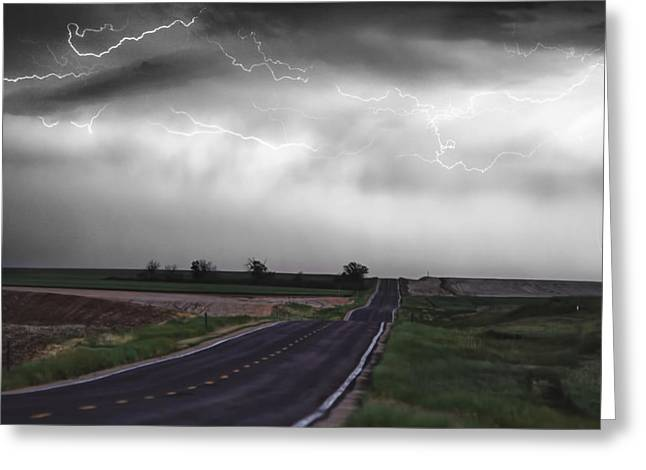 Storm Prints Greeting Cards - Chasing The Storm - BW and Color Greeting Card by James BO  Insogna