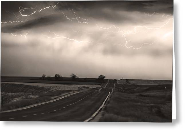 Lightning Wall Art Greeting Cards - Chasing The Storm - County Rd 95 and Highway 52 - CO- Sepia Greeting Card by James BO  Insogna