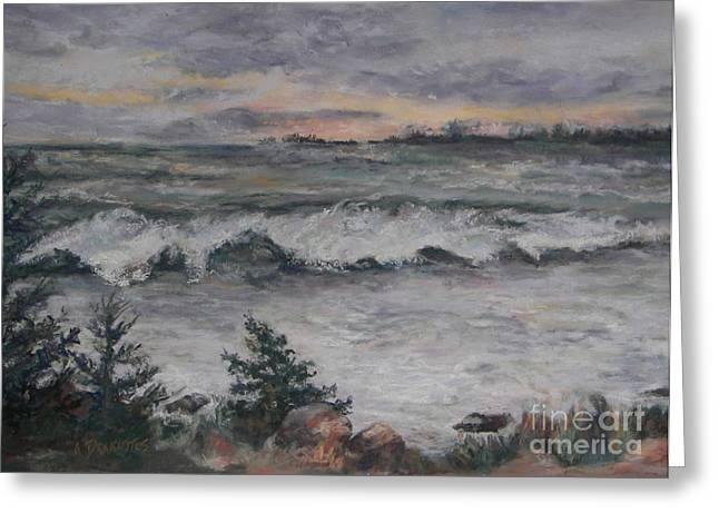 Maine Pastels Greeting Cards - Chasing the Storm Greeting Card by Alicia Drakiotes